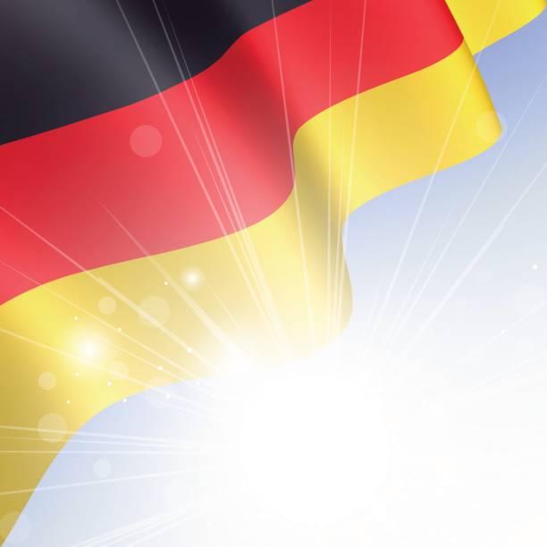 nationalflagge von deutschland winken in den wind in den strahlen der sonne - kanzlerin stock-grafiken, -clipart, -cartoons und -symbole