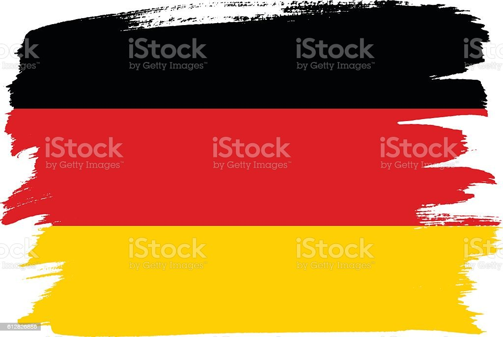 National flag of Germany with brush strokes painted vector art illustration