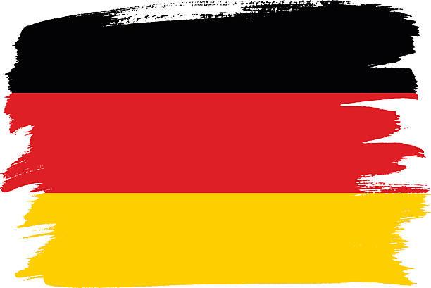ilustraciones, imágenes clip art, dibujos animados e iconos de stock de national flag of germany with brush strokes painted - bandera alemana