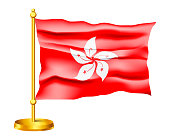 Waving Vector Flag of Hong Kong isolated on white background