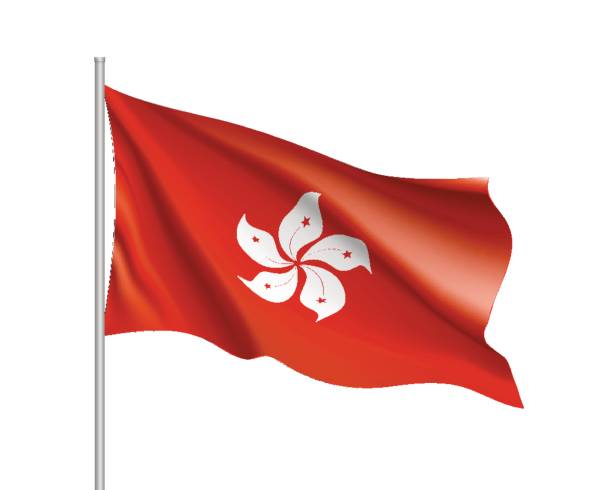 national flag of hong kong vector art illustration