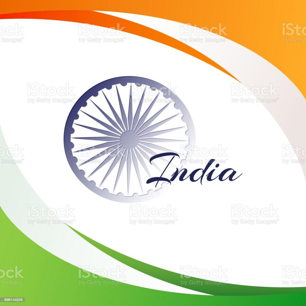 Ilustración de Bandera Nacional De La India Con El Nombre Del País ...