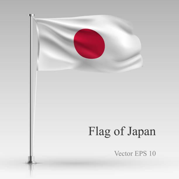 ilustraciones, imágenes clip art, dibujos animados e iconos de stock de bandera nacional de japón aislado sobre fondo gris. bandera japonesa realista ondeando en el viento. ondulado bandera ilustración vectorial de stock - bandera japonesa