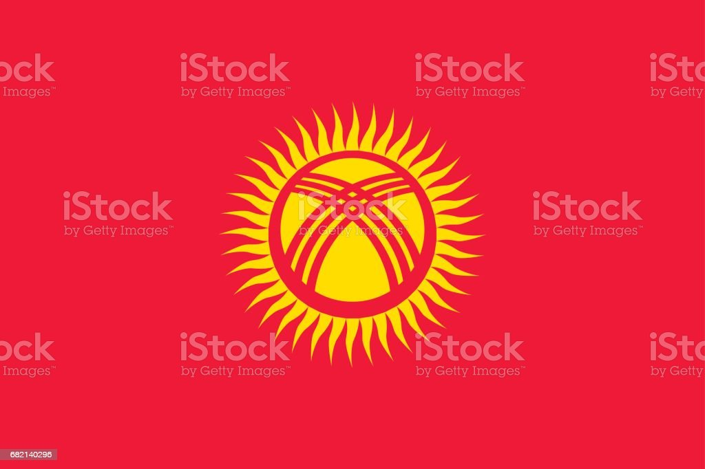 National flag of Kyrgyzstan Republic. vector art illustration