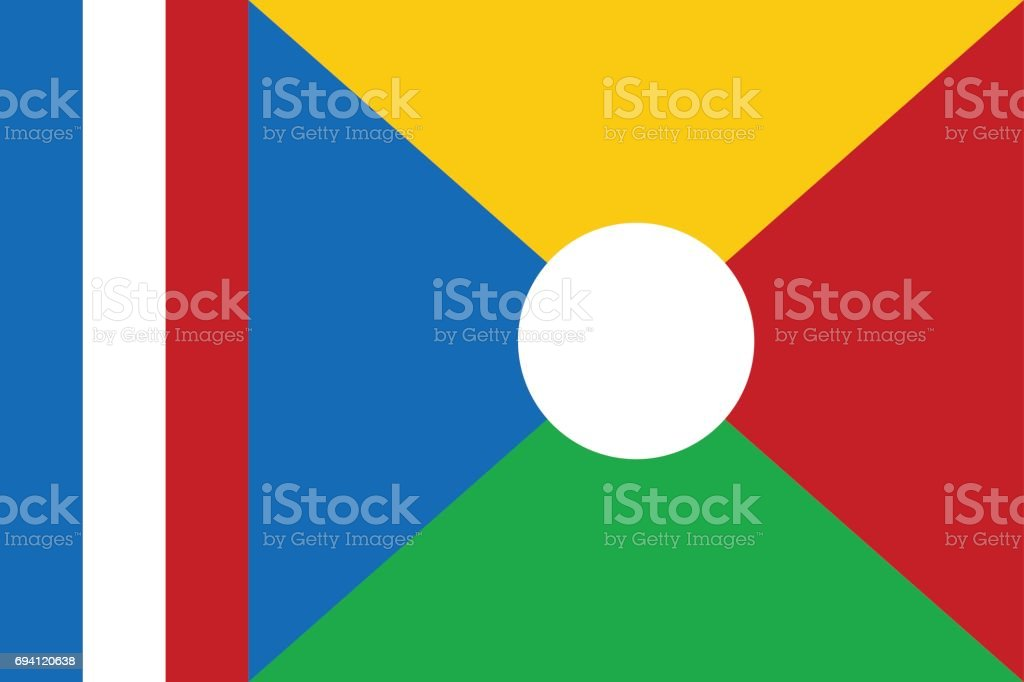National flag of La Reunion. vector art illustration