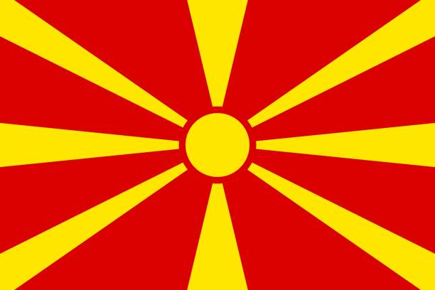 national flag of macedonia - macedonia country stock illustrations, clip art, cartoons, & icons