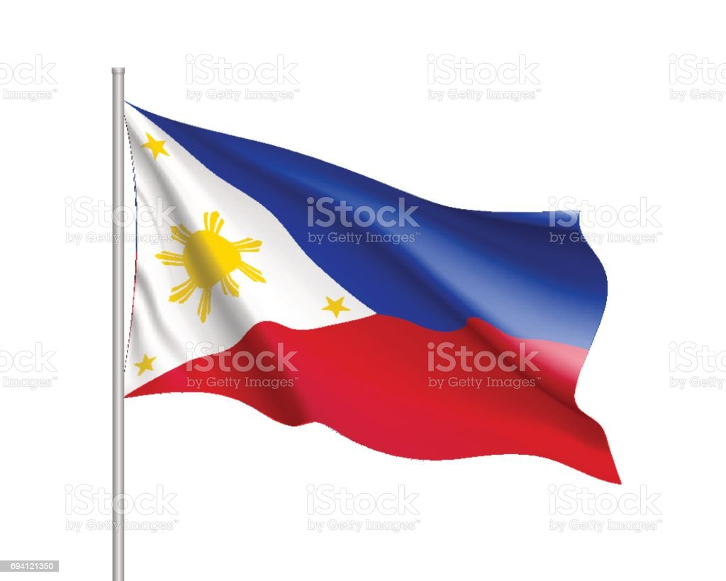 National flag of Philippines Republic. vector art illustration