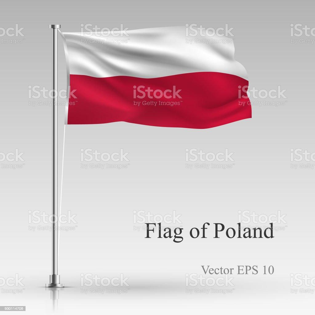 Bandera Nacional de Polonia aislado sobre fondo gris. Bandera polaca realista ondeando en el viento. Ondulado bandera ilustración vectorial de Stock - ilustración de arte vectorial