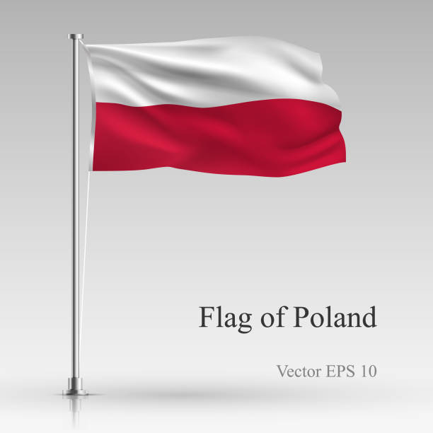 national flag of poland isolated on gray background. realistic polish flag waving in the wind. wavy flag stock vector illustration - polish flag stock illustrations, clip art, cartoons, & icons