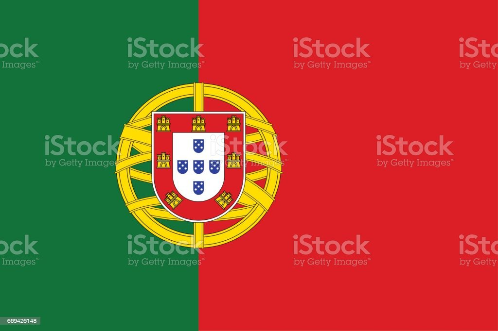 National flag of Portugal country. vector art illustration
