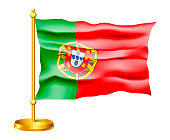 Waving Vector Flag of Portugal isolated on white background