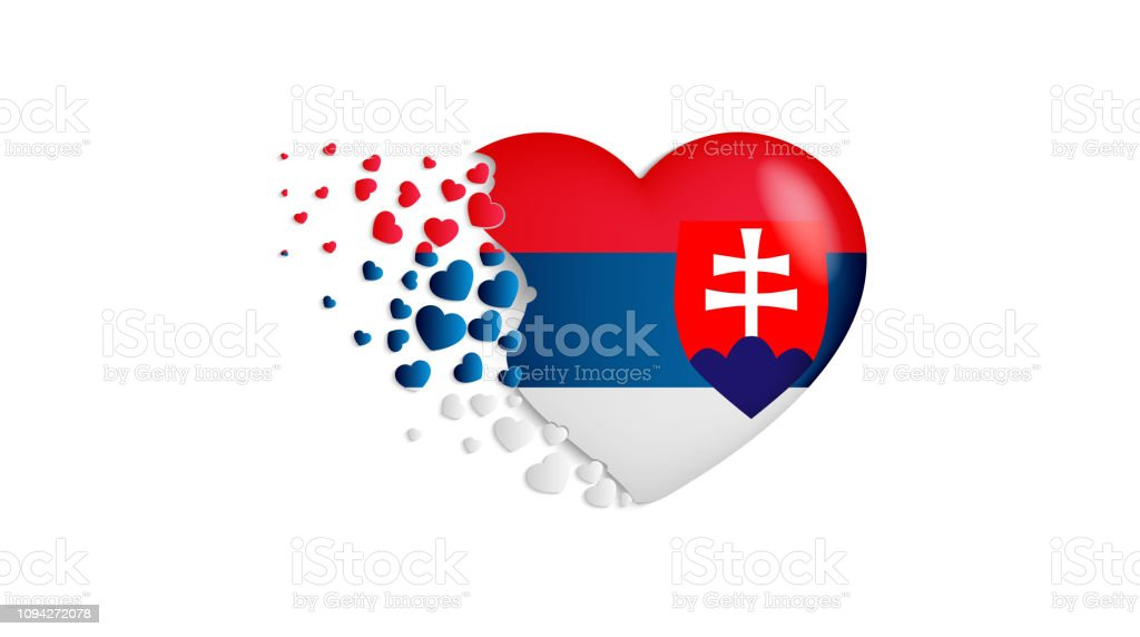 National flag of Slovakia in heart illustration. With love to Slovakia country. The national flag of Slovakia fly out small hearts vector art illustration