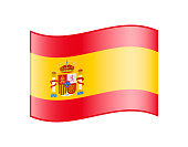 Waving flag of Spain isolated on white background