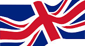 National flag of the United Kingdom waving.