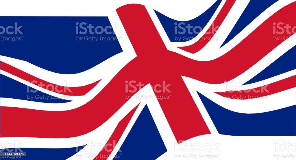 Bandeira nacional do Reino Unido que acena. - ilustração de arte em vetor