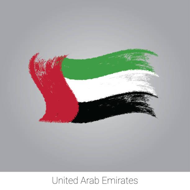 阿拉伯聯合大公國國旗。向量筆刷筆觸。 - uae flag 幅插畫檔、美工圖案、卡通及圖標