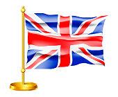 Waving Vector Flag of United Kingdom isolated on white background