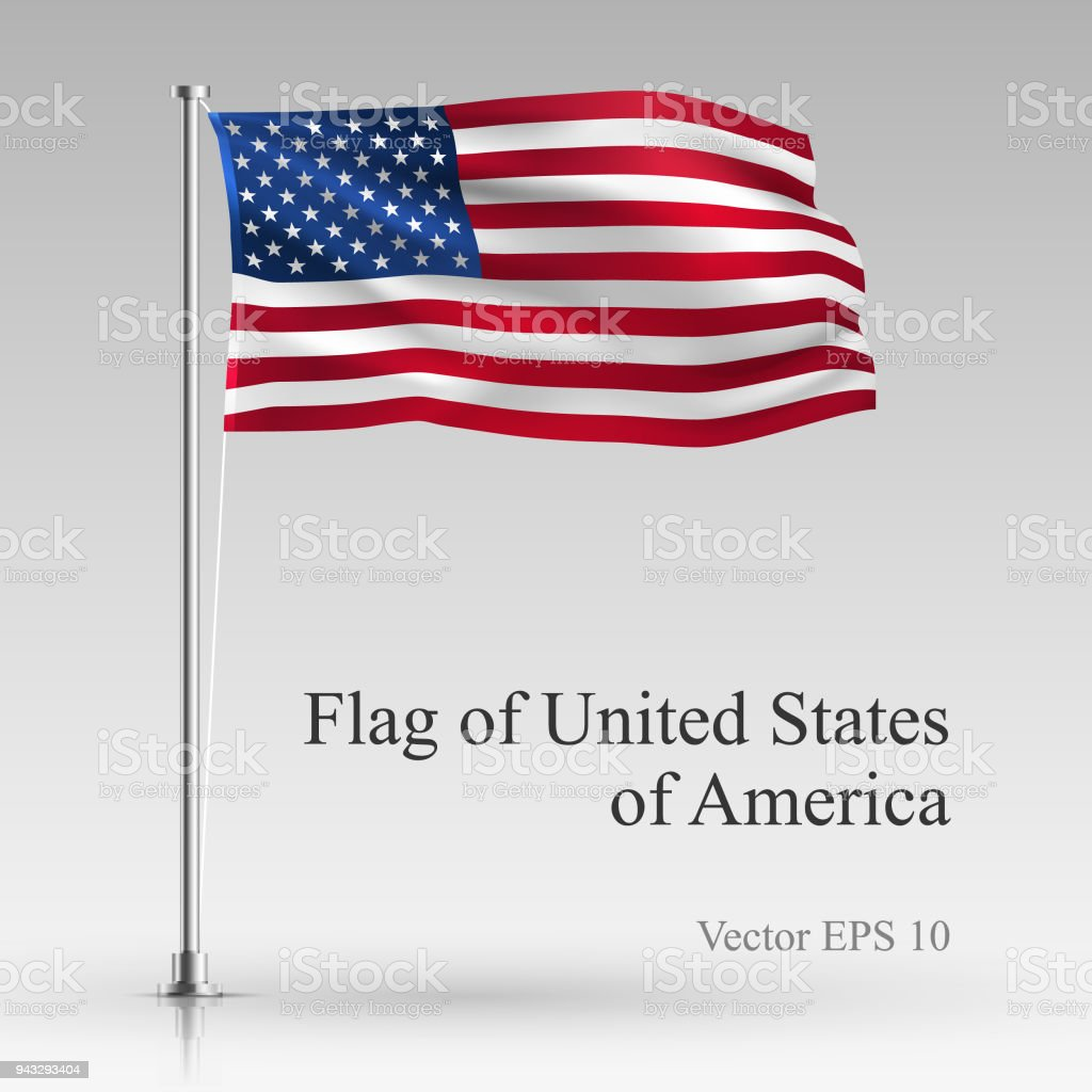 National flag of United States of America isolated on gray background. Realistic USA flag waving in the Wind. Wavy flag Stock Vector illustration vector art illustration