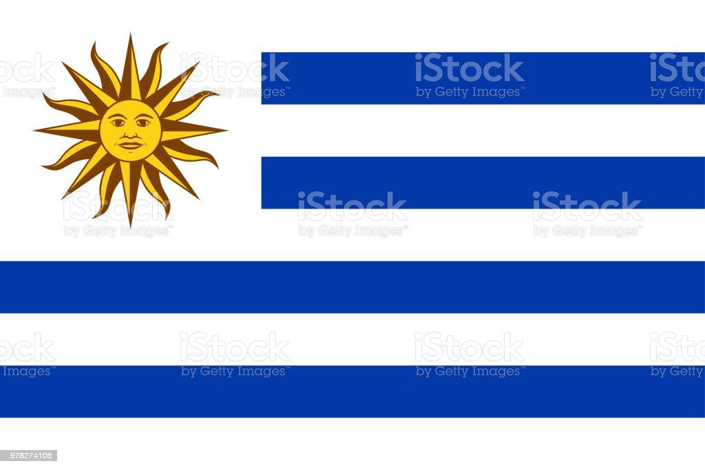 Bandera Nacional de Uruguay con el sol de mayo - ilustración de arte vectorial