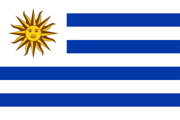 National flag of Uruguay with Sun of May vector art illustration