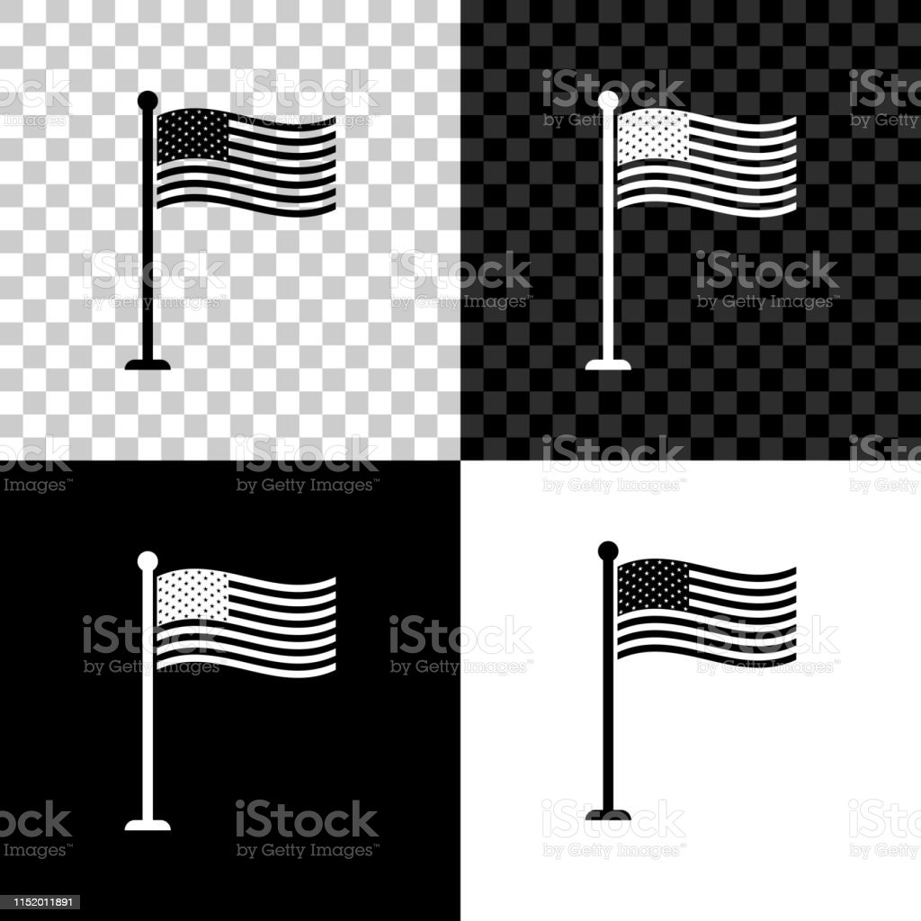 National Flag Of Usa On Flagpole Icon Isolated On Black White And