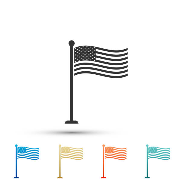 National flag of USA on flagpole icon isolated on white background. American flag sign. Set elements in colored icons. Flat design. Vector Illustration vector art illustration
