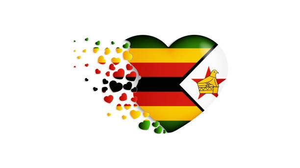 nationalflagge von simbabwe in herzen abbildung. mit viel liebe zum land simbabwe. die nationalflagge von simbabwe ausfliegen herzchen - salisbury stock-grafiken, -clipart, -cartoons und -symbole