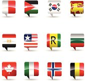 National flag set of 12 countries.