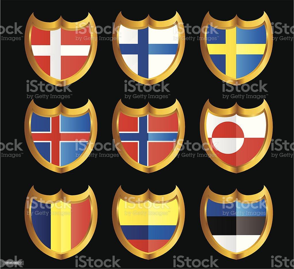 National Flag Shield Icon Set royalty-free stock vector art