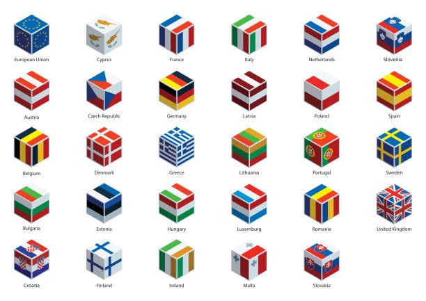 国旗と欧州連合のキューブ - アイルランドの国旗点のイラスト素材/クリップアート素材/マンガ素材/アイコン素材