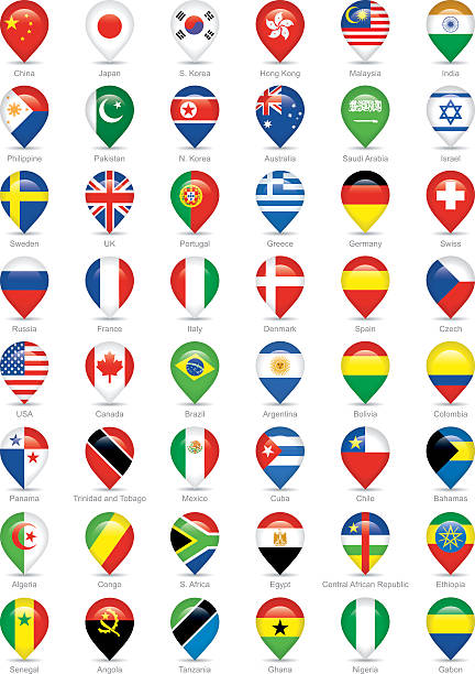 国立旗のアイコン - 韓国の国旗点のイラスト素材/クリップアート素材/マンガ素材/アイコン素材