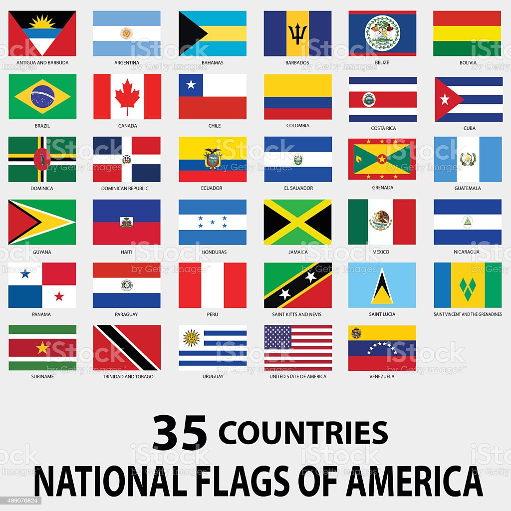 National Flags of America vector art illustration