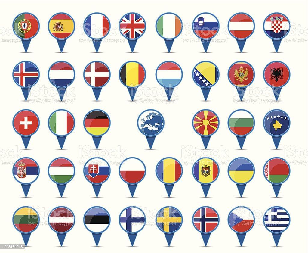 Europa-Flaggen – Vektorgrafik