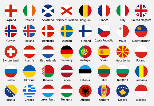 National flags of european countries with captions.