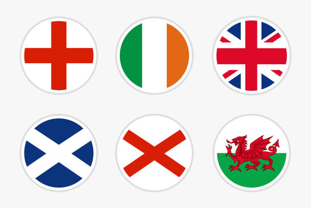 National Flags of United kingdom, vector Set on white background National Flags of United kingdom, vector Set on white background. Flag of England, Ireland, UK, Scotland, Northern Ireland and Wales for travel, holidays and other events. wales stock illustrations