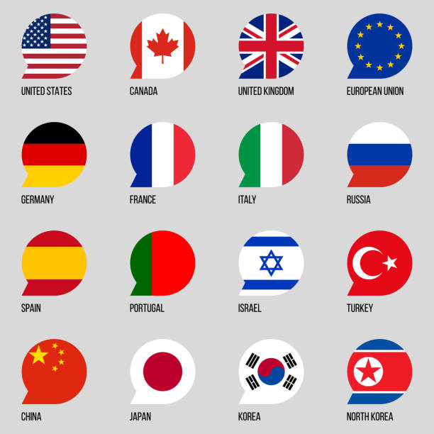 national flags round bubble vector icons set national flags round bubble vector icons set french culture stock illustrations