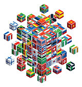vector graphics of national flags with cubes