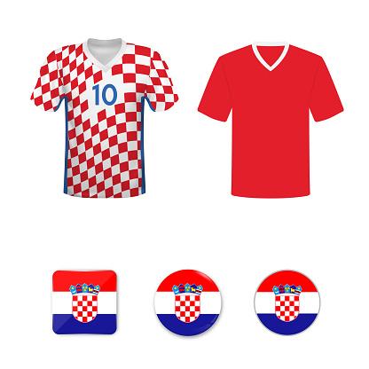 National football shirt of the Croatia national team. Set of football T-shirts and flags of the national team of Croatia.