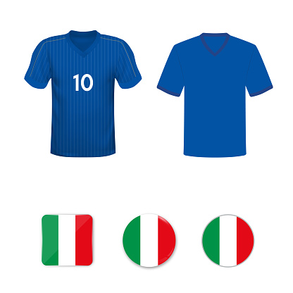 National football shirt of the Italy national team. Set of football T-shirts and flags of the national team of Italy.
