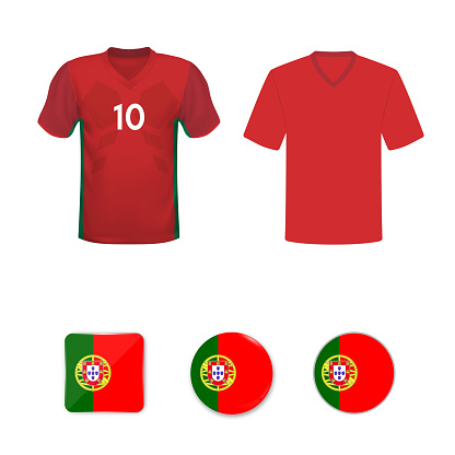 National football shirt of the Portugal national team. Set of football T-shirts and flags of the national team of Portugal.