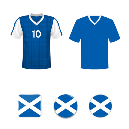 National football shirt of the Scotland national team. Set of football T-shirts and flags of the national team of Scotland.