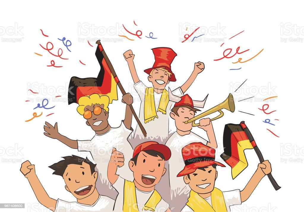 Fussball Team Fans Jubeln Fur Die Spieler Fussballfans Mit Nationalen Attributen Farbige Flache Vektorillustration Horizontal Auf Weissem Hintergrund