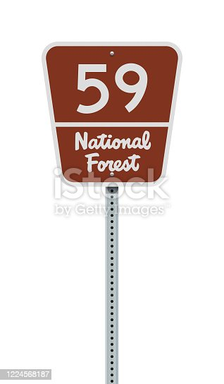 Vector illustration of the National Forest highway road sign on metallic post