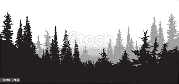 A vector silhouette illustration of a tree line of dense forest pine trees.
