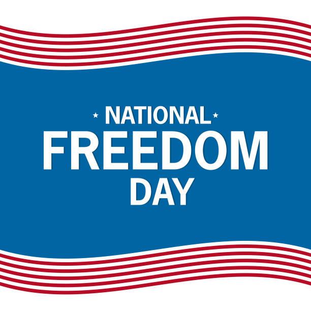 ilustraciones, imágenes clip art, dibujos animados e iconos de stock de día de la libertad nacional a vector el texto plano sobre un fondo azul. - civil rights