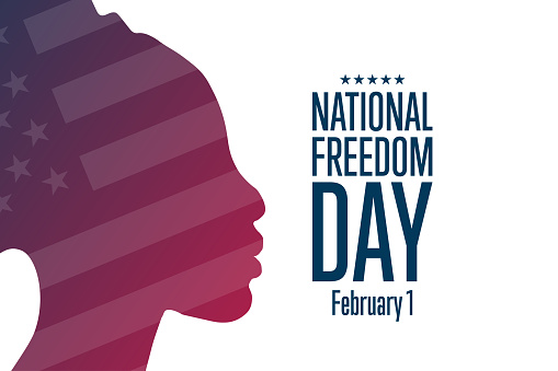 National Freedom Day. February 1. Holiday concept. Template for background, banner, card, poster with text inscription. Vector EPS10 illustration.