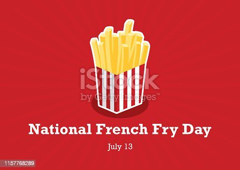 Bucket of French Fry icon. American Food Feast. National French Fry Day Poster, July 13. Important day