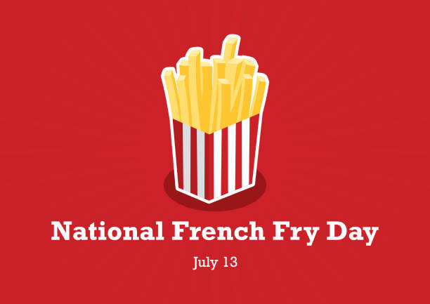 National French Fry Day vector Bucket of French Fry icon. American Food Feast. National French Fry Day Poster, July 13. Important day french fries stock illustrations