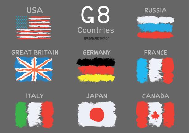 g8 国家手描画フラグ アイコンを設定 - ドイツの国旗点のイラスト素材/クリップアート素材/マンガ素材/アイコン素材