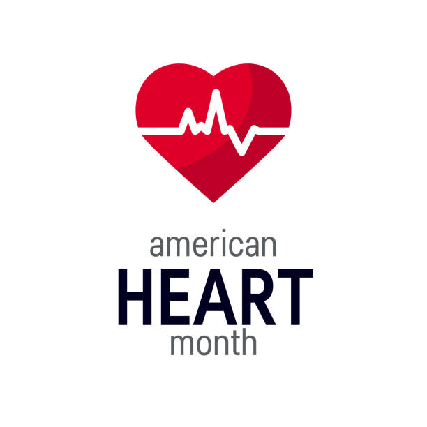 National heart month concept in flat style National heart month concept. Simple design in flat style, vector month stock illustrations